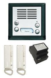 KARAT-INOX, 1+n MKT rendszerű, süllyesztett 2 lakásos kaputelefon szett (kültéri, beltéri,  tápegység, zárellendarab).