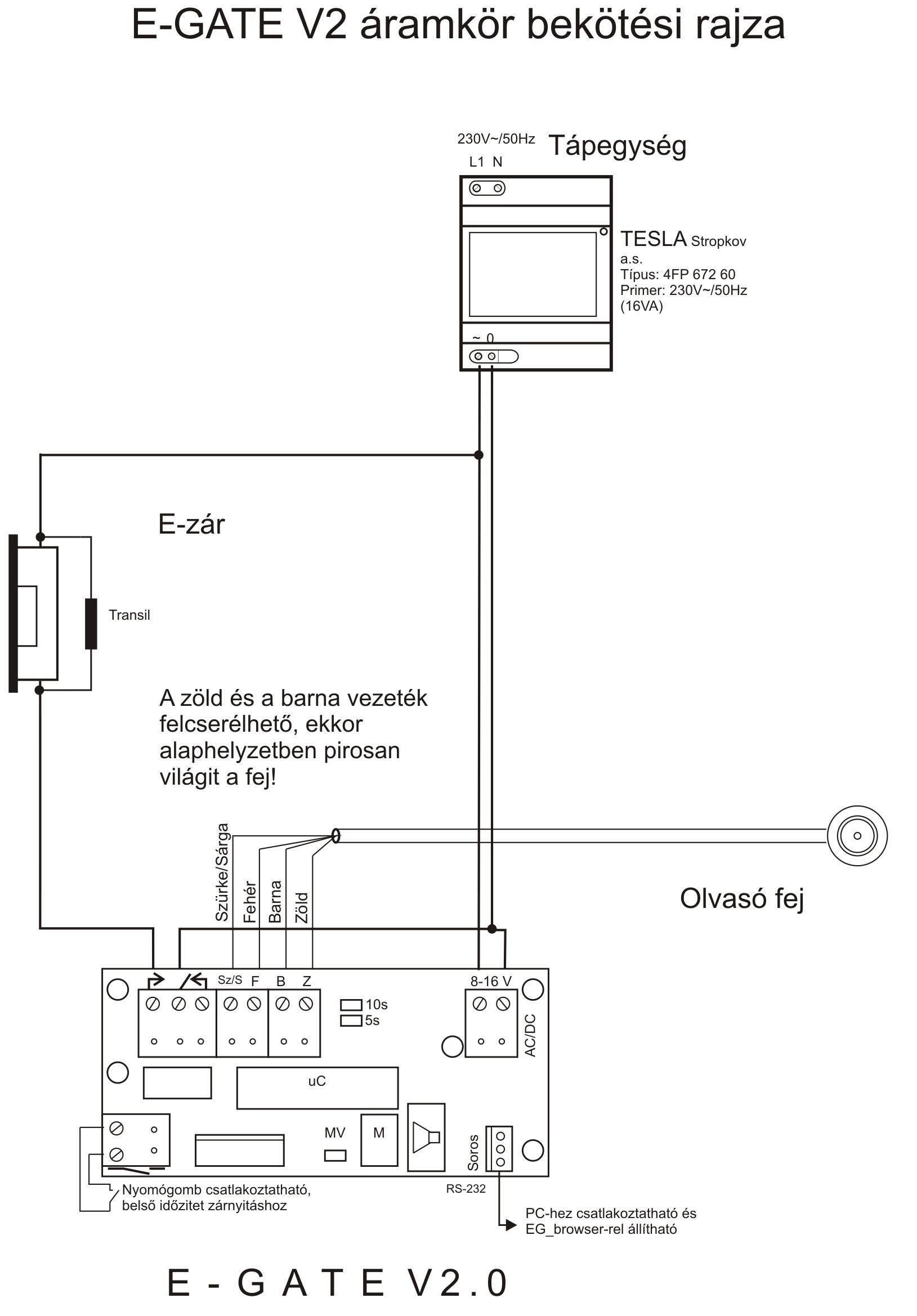 E-gate V2.0-12 bekötése